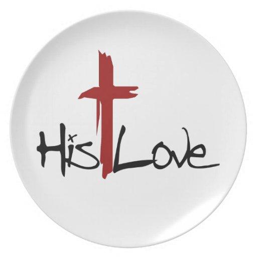 Su logotipo de la cruz del amor platos