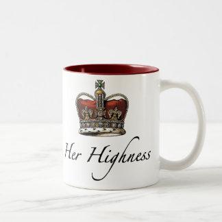 Su majestad, su alteza taza de dos tonos