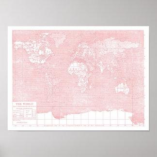 Su mapa del mundo del vintage del rosa del ~ del m impresiones