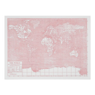 Su mapa del mundo del vintage del rosa del ~ del m póster