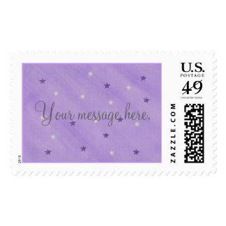 Su mensaje, púrpura y estrellas de la plata sella sellos postales