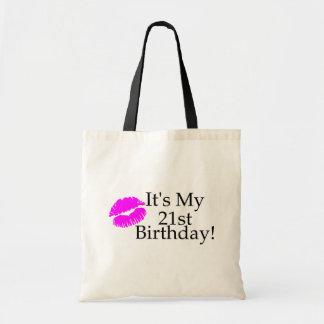 Su mi 21ro cumpleaños (beso) bolsa tela barata