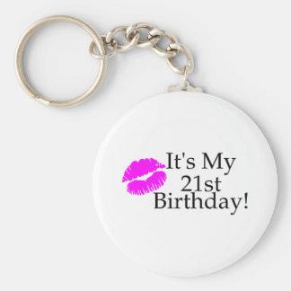 Su mi 21ro cumpleaños (beso) llavero redondo tipo pin
