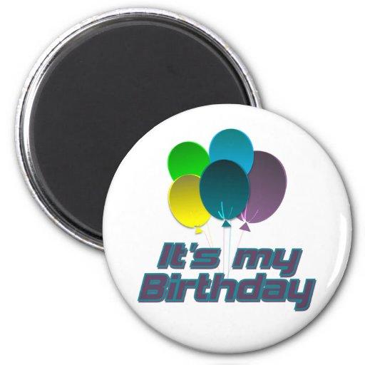 Su mi cumpleaños imán redondo 5 cm