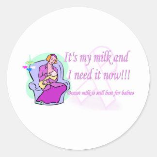 Su mi leche etiqueta redonda