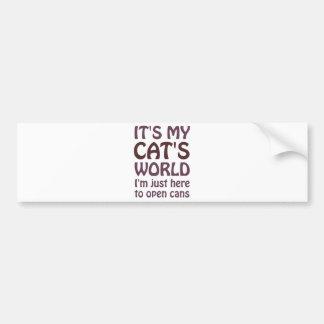 Su mi mundo de los gatos - apenas abro las latas pegatina para auto