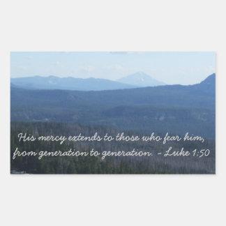 Su misericordia pegatina rectangular