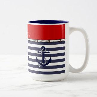 Su moda náutica conocida del ancla raya el modelo taza de café de dos colores