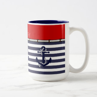 Su moda náutica del ancla conocida raya el modelo taza