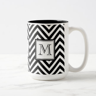 SU MONOGRAMA, CHEVRON NEGRO TAZA DE CAFÉ