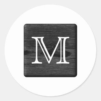 Su monograma de la letra. Imagen de la madera Pegatina Redonda