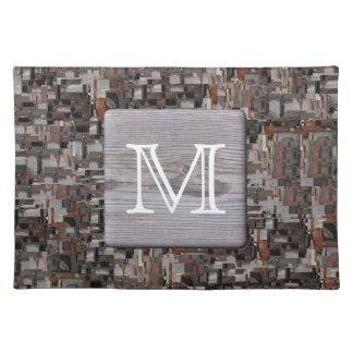 Su monograma de la letra Imagen de la madera y de Manteles Individuales