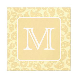 Su monograma de la letra Modelo beige de Paisley Impresion En Lona
