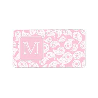 Su monograma de la letra. Modelo rosado de Paisley Etiquetas De Dirección