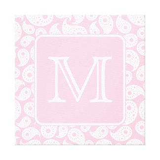 Su monograma de la letra Modelo rosado de Paisley Impresion De Lienzo
