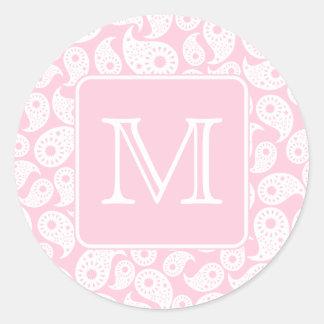 Su monograma de la letra. Modelo rosado de Paisley Pegatina Redonda