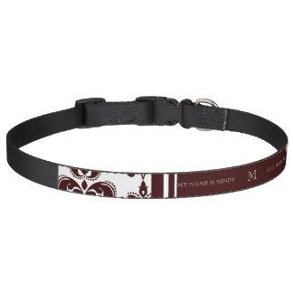 Su monograma, modelo 2 del damasco de Brown Collar Para Perro