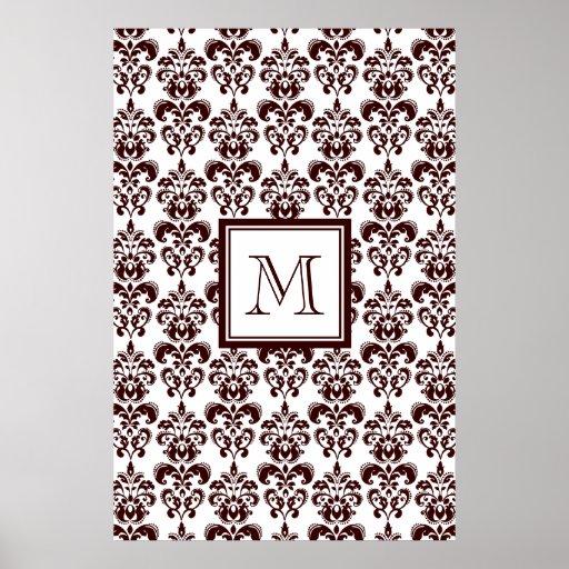 Su monograma, modelo 2 del damasco de Brown Poster
