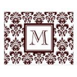 Su monograma, modelo 2 del damasco de Brown Tarjetas Postales