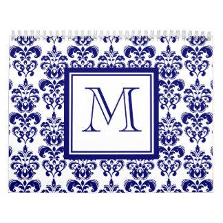 Su monograma, modelo 2 del damasco de los azules calendarios de pared