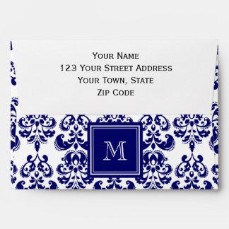 Su monograma modelo 2 del damasco de los azules m