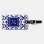 Su monograma, modelo 2 del damasco de los azules m etiquetas para equipaje