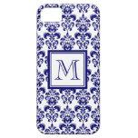 Su monograma, modelo 2 del damasco de los azules m iPhone 5 fundas