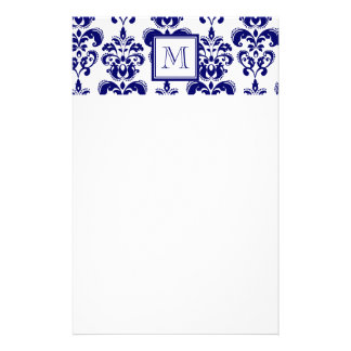 Su monograma, modelo 2 del damasco de los azules m  papeleria de diseño