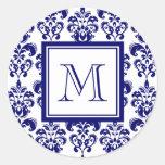 Su monograma, modelo 2 del damasco de los azules m etiquetas