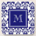 Su monograma, modelo 2 del damasco de los azules m posavaso