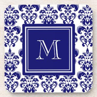 Su monograma, modelo 2 del damasco de los azules m posavasos de bebida