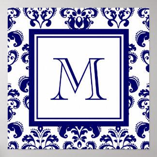 Su monograma, modelo 2 del damasco de los azules m póster