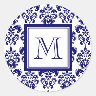 Su monograma, modelo 2 del damasco de los azules etiquetas redondas