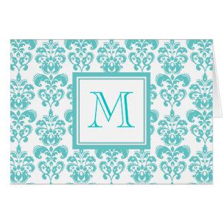 Su monograma, modelo 2 del damasco del trullo tarjeta de felicitación