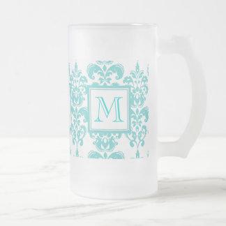 Su monograma, modelo 2 del damasco del trullo taza de cristal