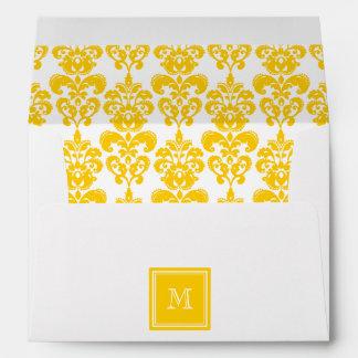 Su monograma modelo amarillo 2 del damasco