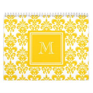 Su monograma, modelo amarillo 2 del damasco calendario de pared