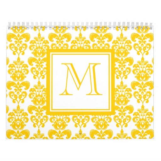 Su monograma, modelo amarillo 2 del damasco calendarios