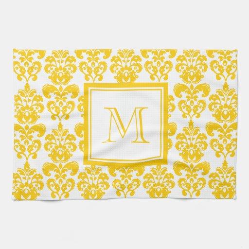 Su monograma, modelo amarillo 2 del damasco toalla de mano