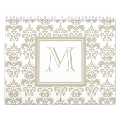 Su monograma, modelo beige 2 del damasco calendario