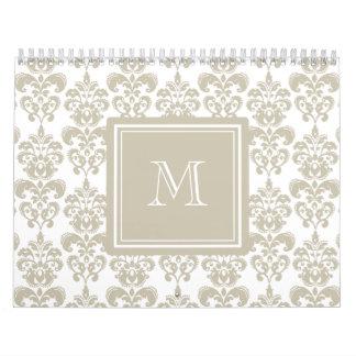 Su monograma, modelo beige 2 del damasco calendario de pared