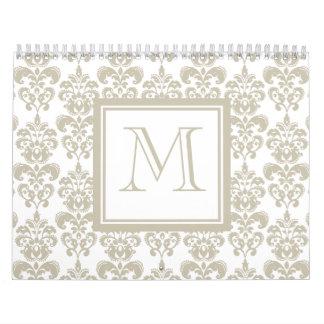 Su monograma, modelo beige 2 del damasco calendarios de pared