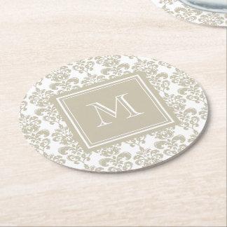 Su monograma, modelo beige 2 del damasco posavasos de cartón redondo