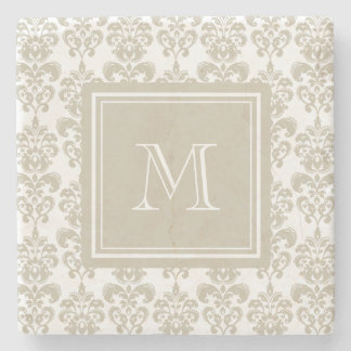 Su monograma, modelo beige 2 del damasco posavasos de piedra
