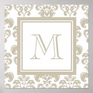 Su monograma, modelo beige 2 del damasco póster