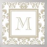 Su monograma, modelo beige 2 del damasco posters