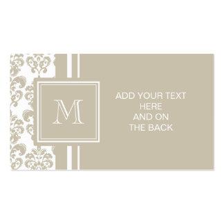Su monograma, modelo beige 2 del damasco tarjetas de visita