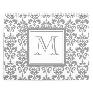 Su monograma, modelo gris 2 del damasco calendario