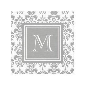 Su monograma, modelo gris 2 del damasco impresion en lona