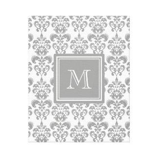 Su monograma, modelo gris 2 del damasco lienzo envuelto para galerías
